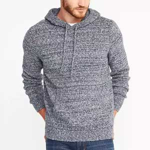 A man standing in a sweater, with Old Navy marled hoodie