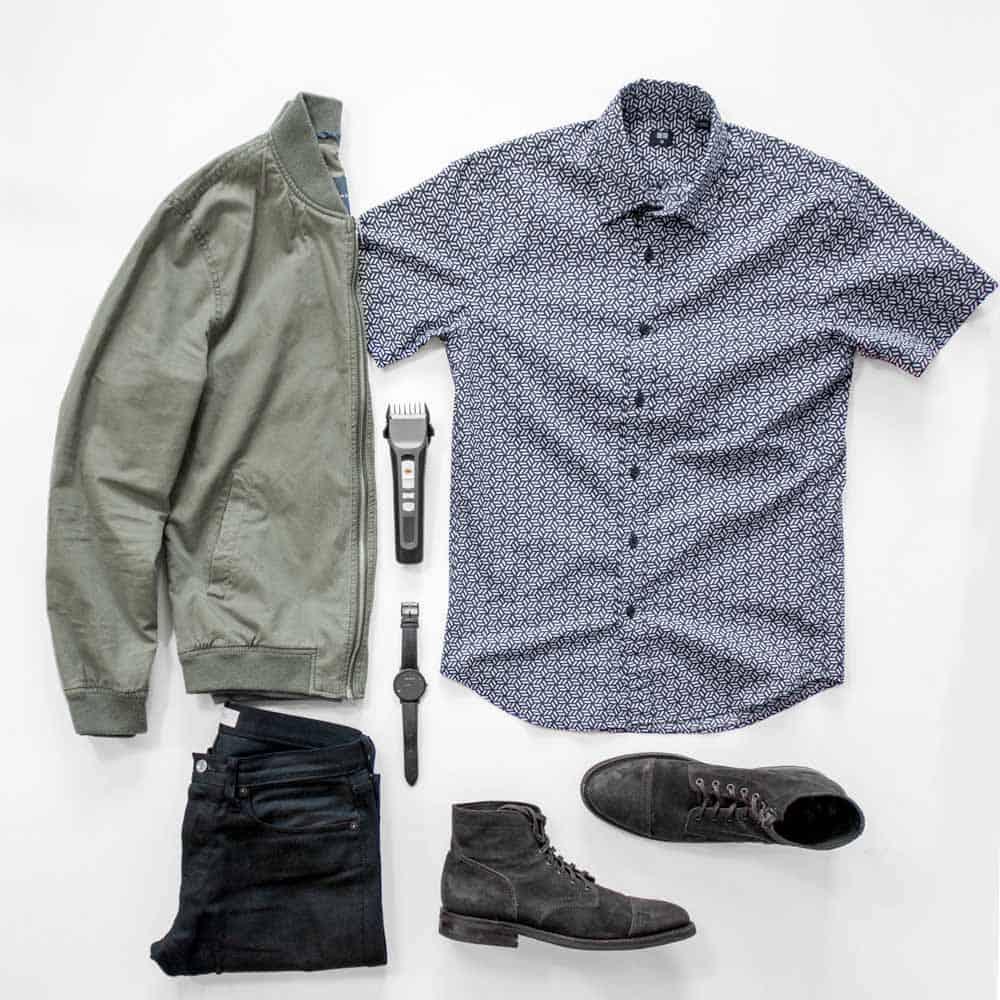casual spring men fashion flatlay