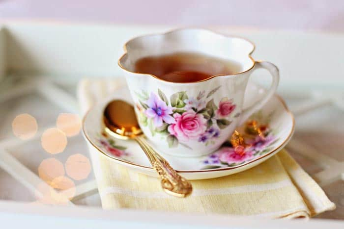 A cup of tea on a table