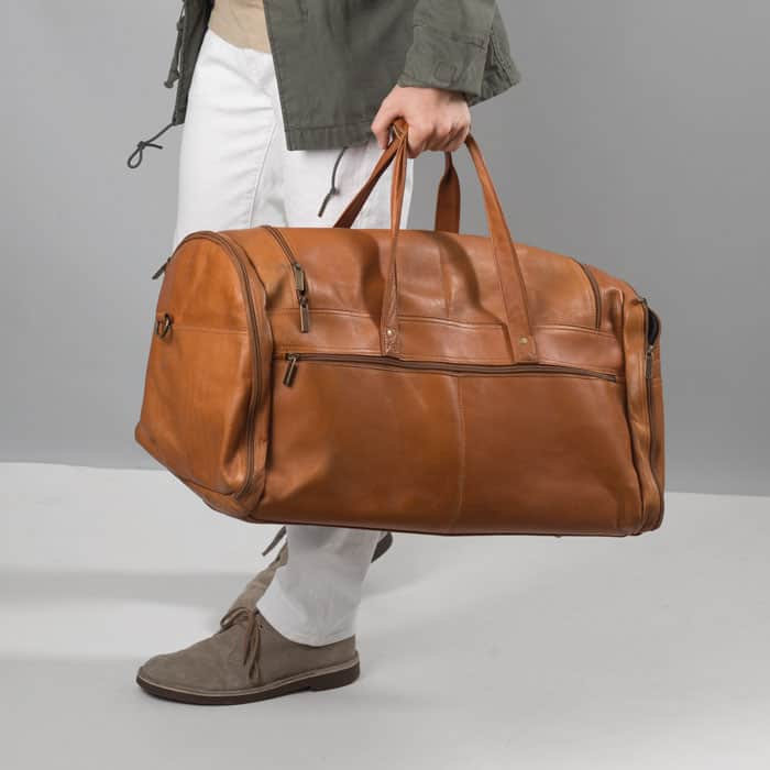 Leather duffel bag amazon