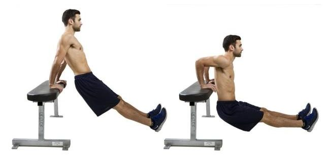 Image of man doing bench dip exercise