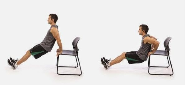 Image of man doing chair dip exercise