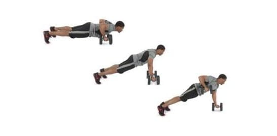 Image of man doing dumbbell row workout