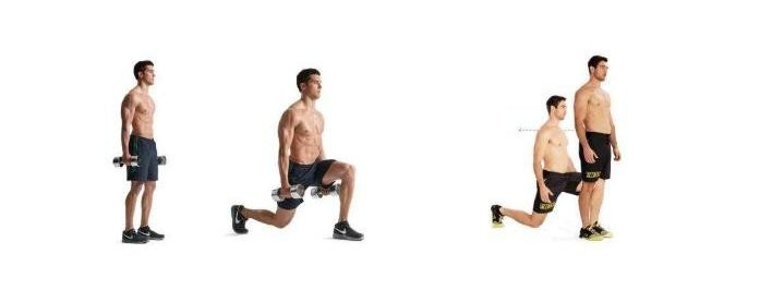 Image of man holding dumbells doing lunge workout