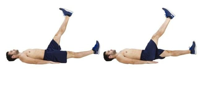 Image of man doing scissor kick exercise