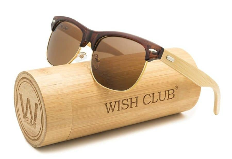 Image of Wish Club wood clubmaster sunglasses for men