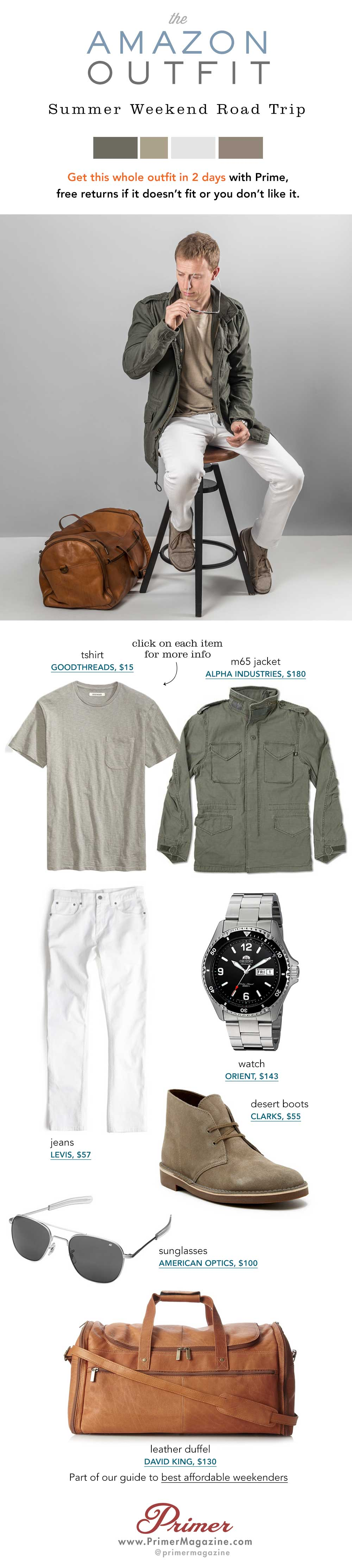 Summer outfit inspiration with green jacket, tan tshirt and white jeans