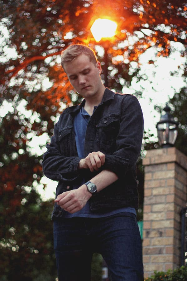 black denim jacket blue henley