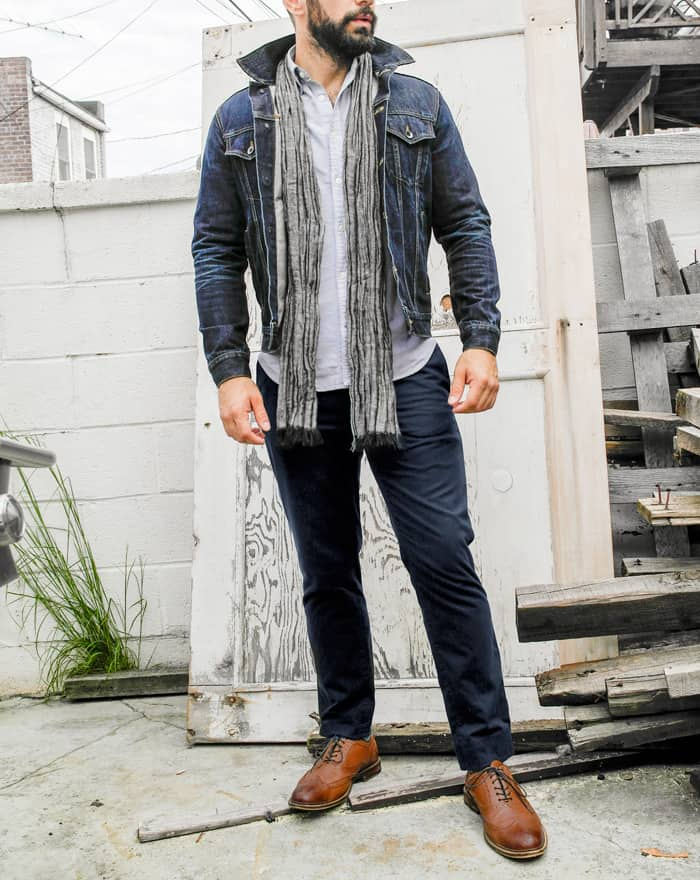 men fall style ideas denim jacket blue chinos wingtiops scarf