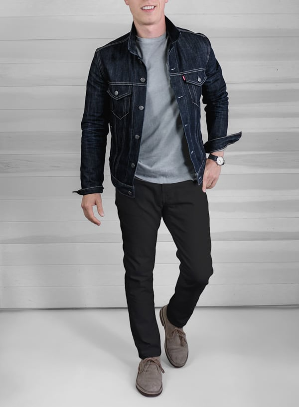 men fall fashion outfit - denim jacket black jeans clark desert boots gray tshirt