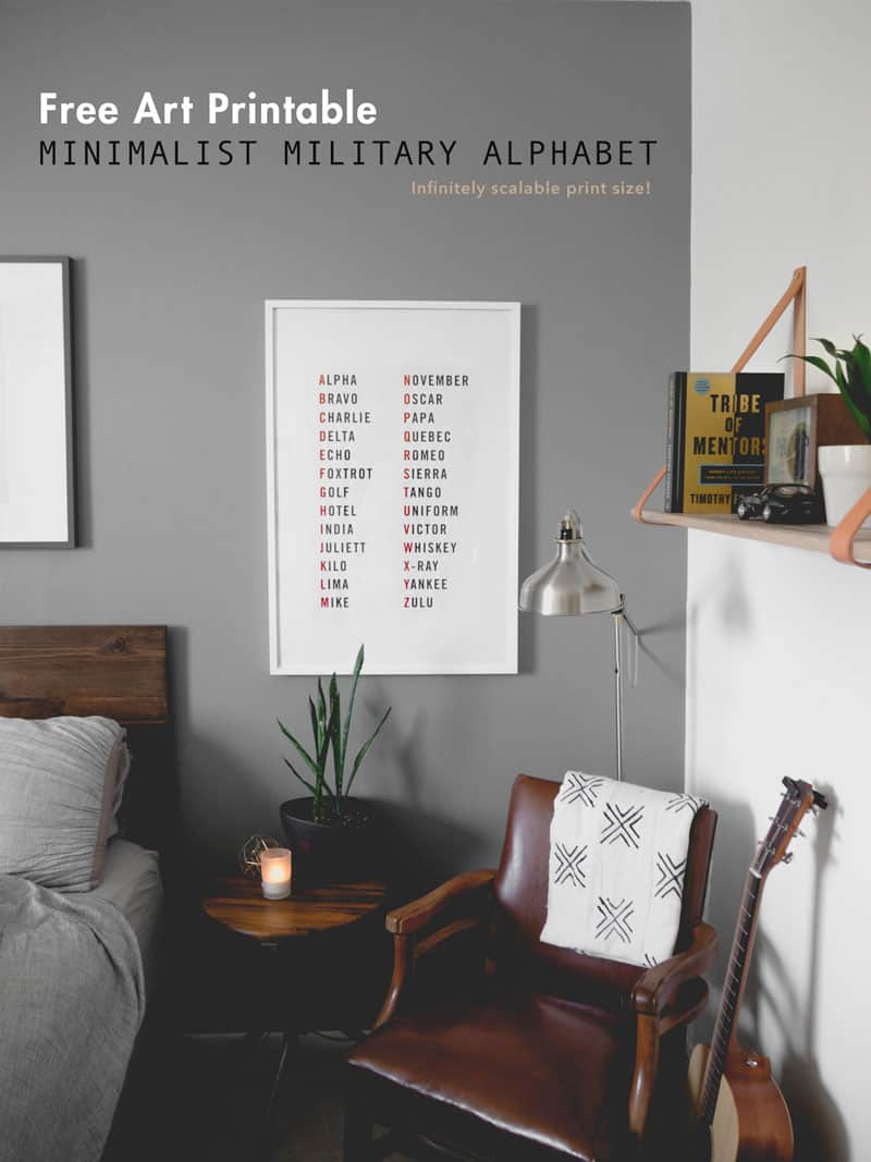 free art printable - minimalist art - masculine interior bedroom decor