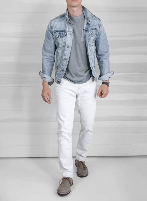 light denim jacket white jeans gray tshirt men summer fashion