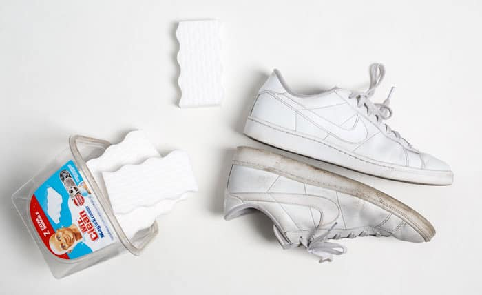 clean white sneakers with magic eraser