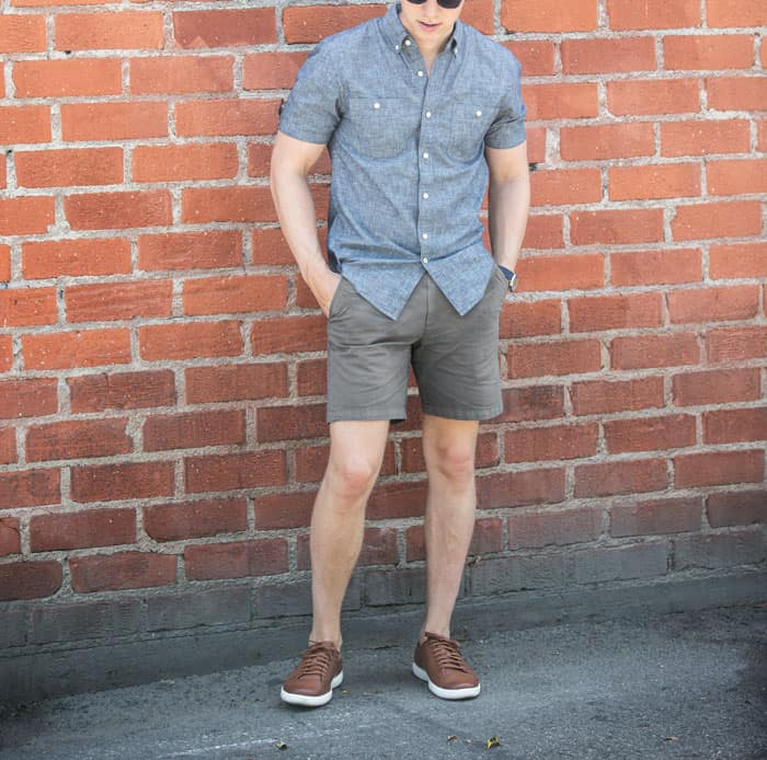 men's summer fashion chambray short sleeve gray shorts brown leather sneakers