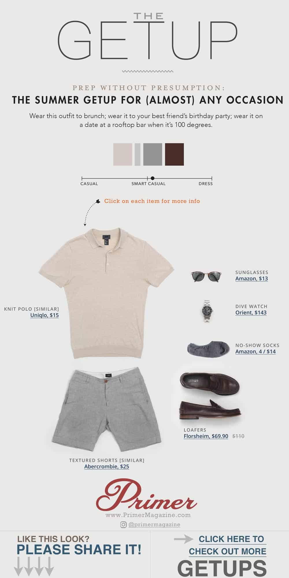 men summer shorts outfit ideas beige knit polo gray linen shorts penny loafers dive watch
