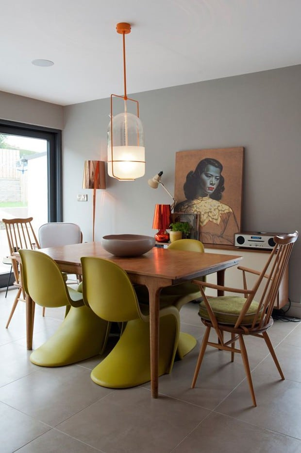 Image of dining table set with Panton chairs