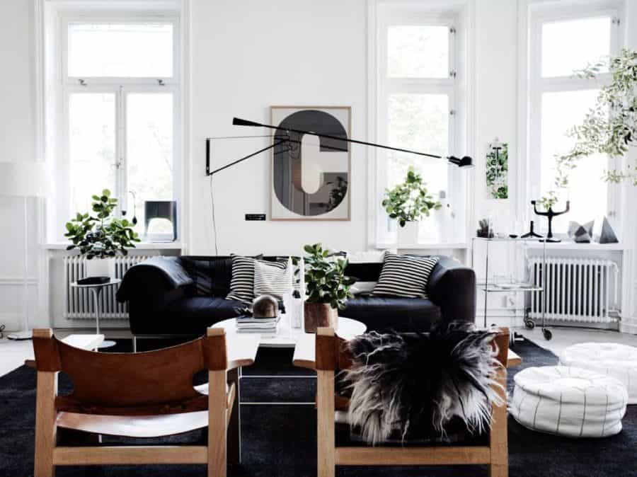 Image of black and white living room design