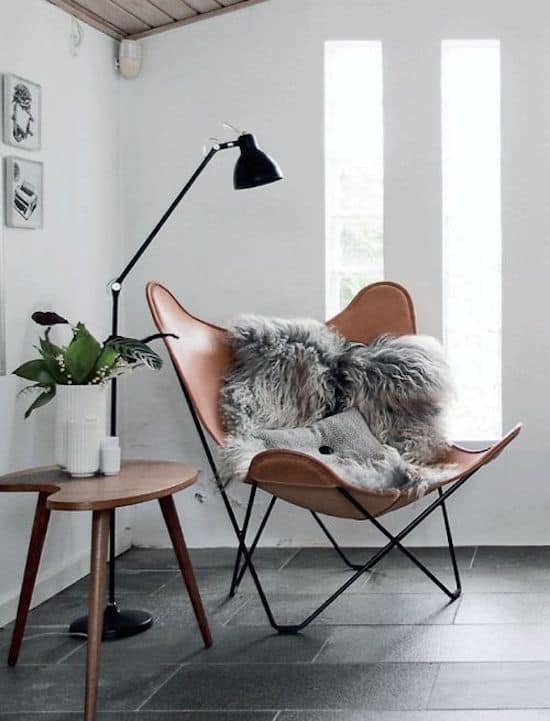 Image of chair with a faux fur throw