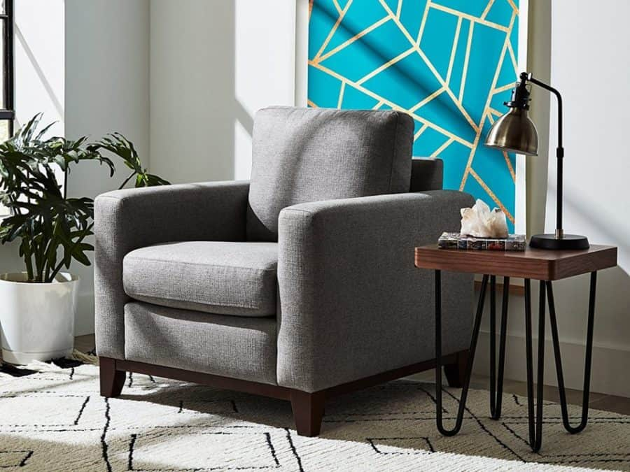 Image of Rivet North end exposed wood modern accent chair