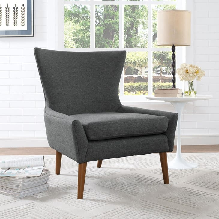 Image of grey fabric armchair