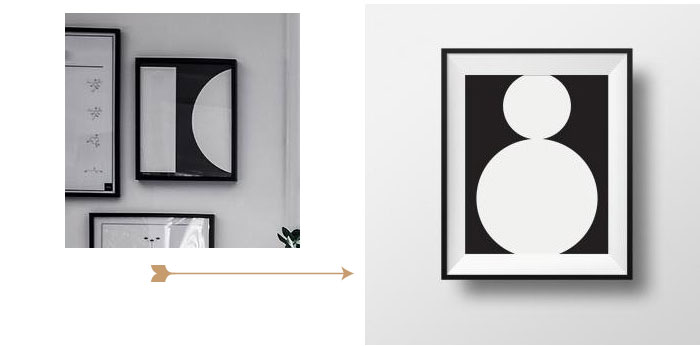 Image of black and white abstract wall art