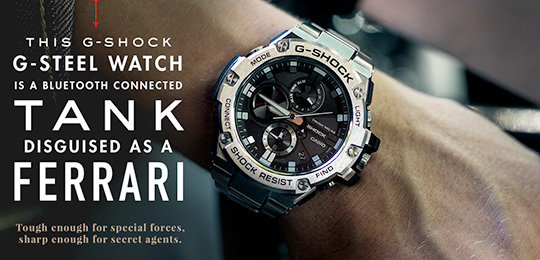 This G-SHOCK G-STEEL Watch is a Bluetooth Connected Tank Disguised as a Ferrari