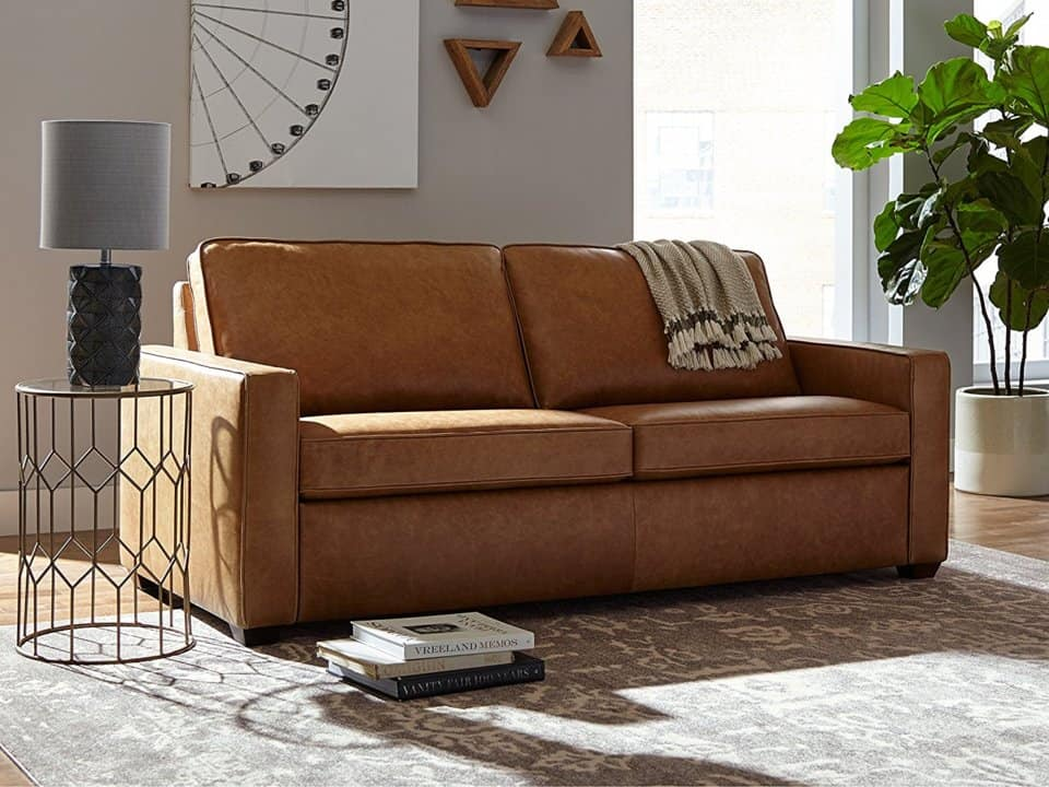 Image of Rivet Andrews modern classic top-grain leather sofa