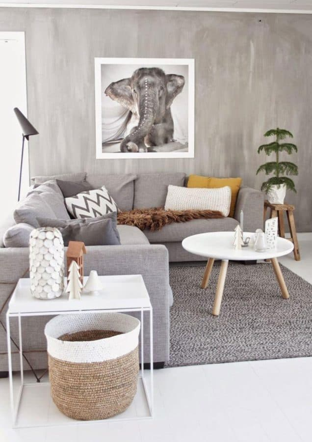 Image of Hygge style living room with grey furniture