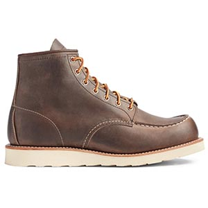 A pair of moc toe boots