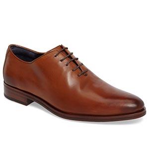 Brown wholecut dress shoes