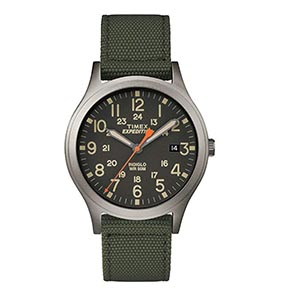 A green strap watch