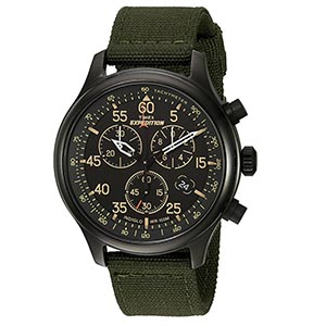 Timex watch with green strap