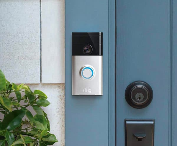 A close up of a door with Ring doorbell