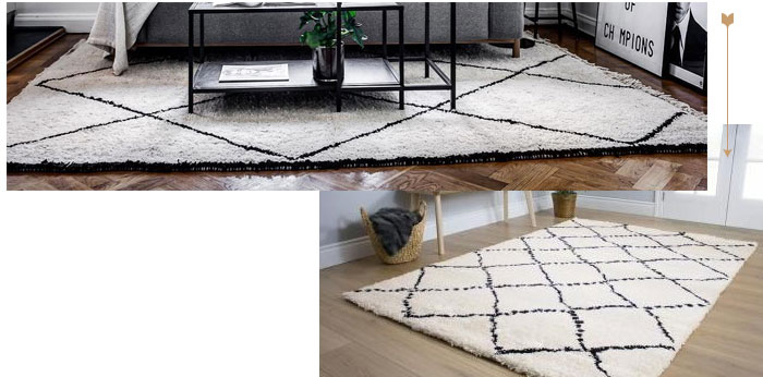 Image of Jannie diamonds black and white area rug
