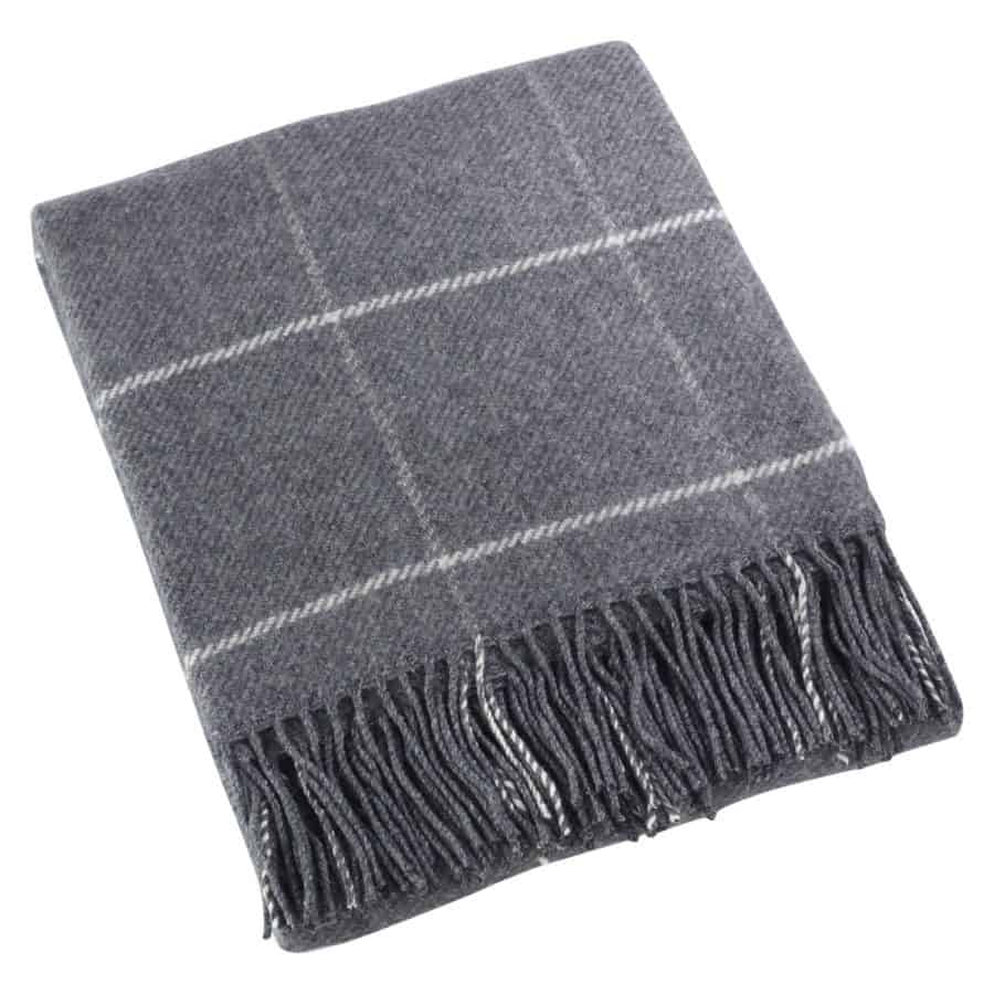 Image of grey throw blanket with Sevan design