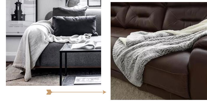 Image of gray faux fur throw