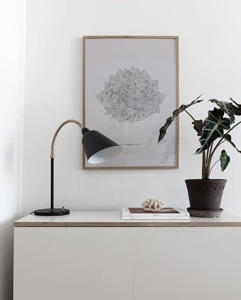 Image of gooseneck desk lamp and wall art