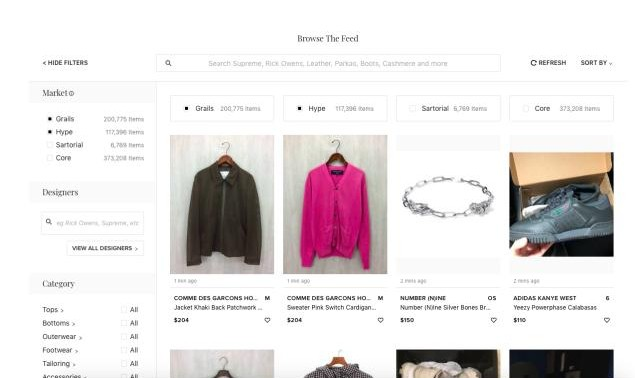 Graphical user interface of grailed website