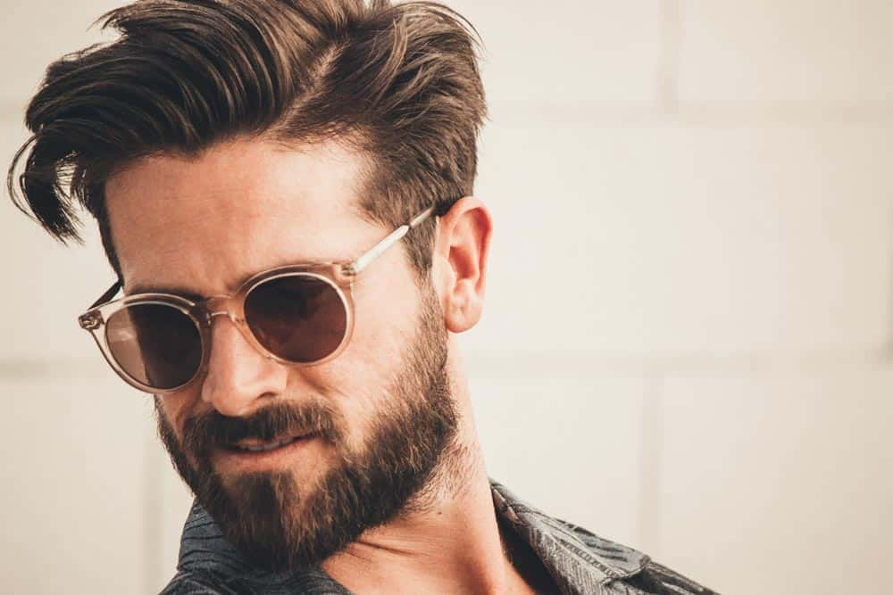 men's amber fossil sunglasses man beard parted hair fashion