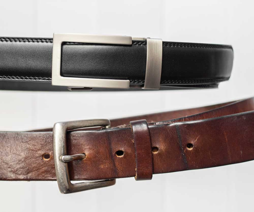 Full grain leather Anson Belt & Buckle versus a traditional belt