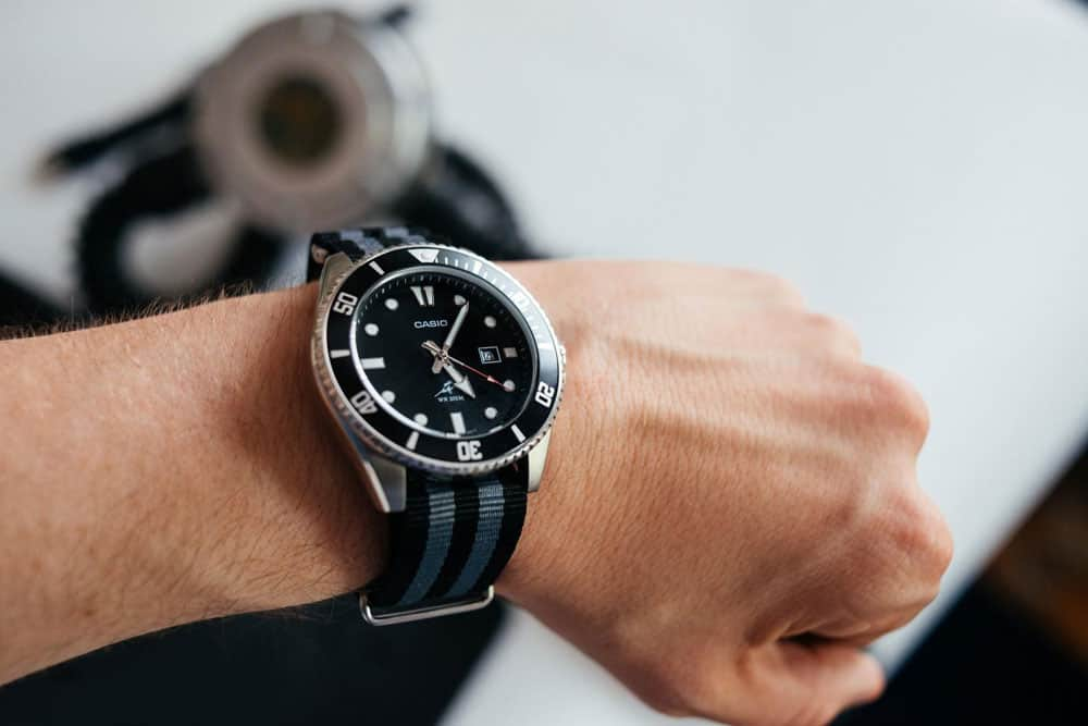 casio mdv on james bond nato strap - affordable dive watch under $50