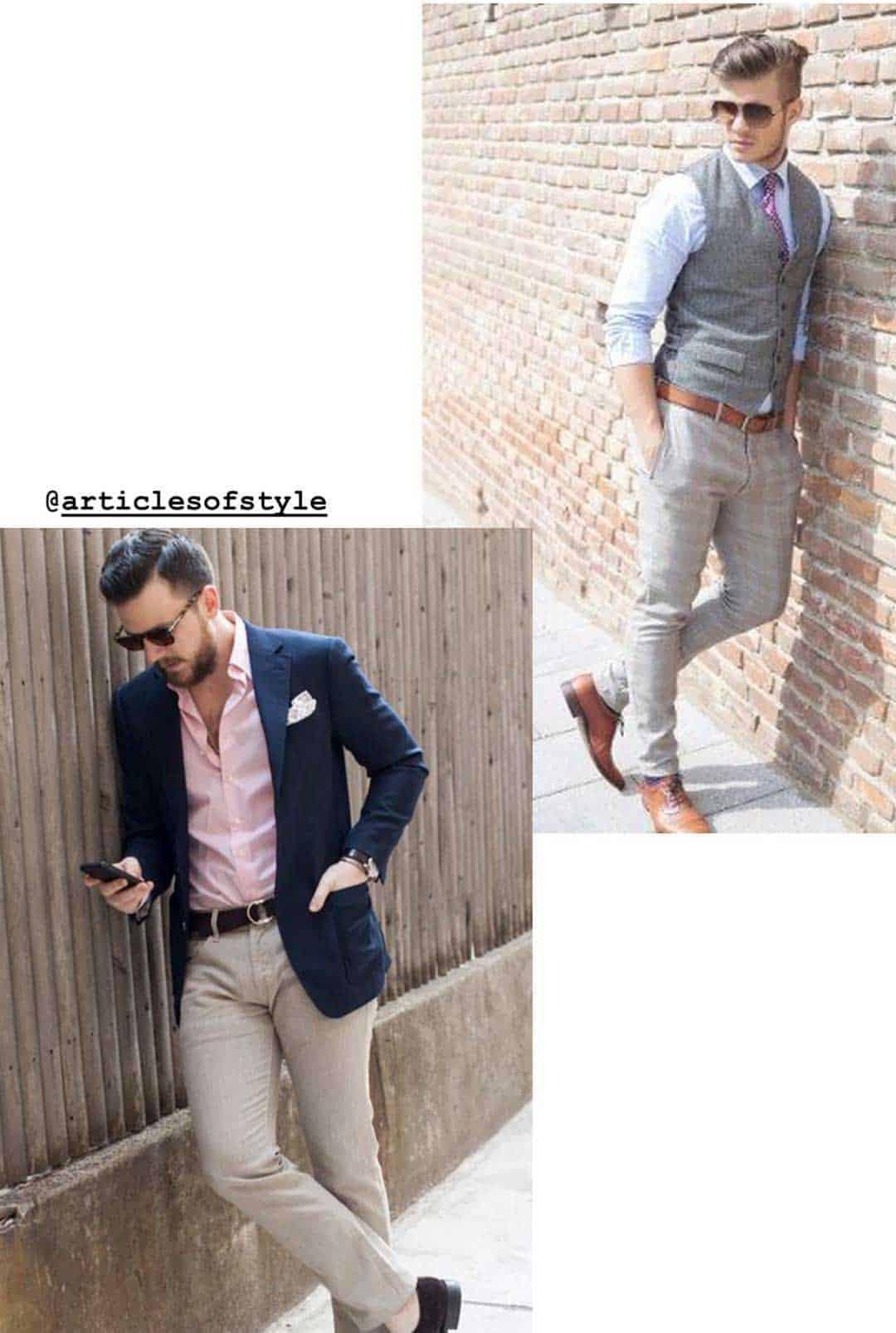 men garden casual attire examples outfits pink shirt khakis blue blazer vest