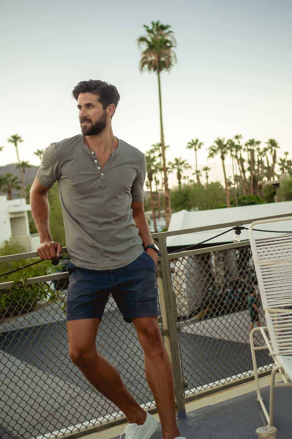 men summer outfit ideas fashion olive green henley blue camp shorts palm trees