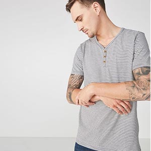 Image of men's navy and grey marle stripe henley shirt