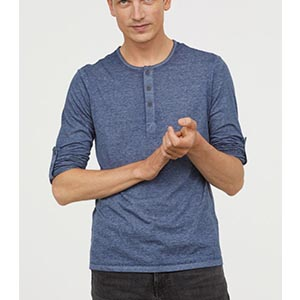 Image of men's cotton jersey henley shirt