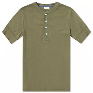 Image of John Varvatos snap short sleeve henley shirt