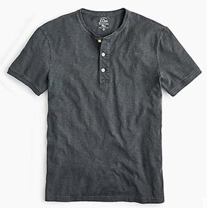 Image of Garment-dyed slub cotton short-sleeve henley