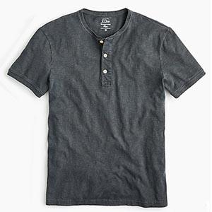 Image of Garment dyed slub cotton short sleeve henley