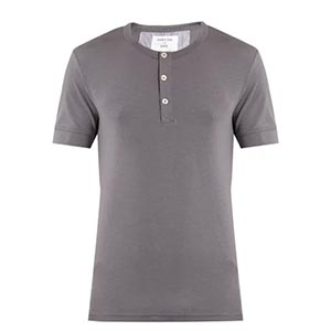 Image of short sleeve henley t-shirt