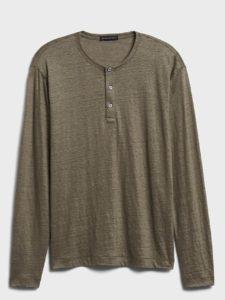 long sleeve linen henley shirt